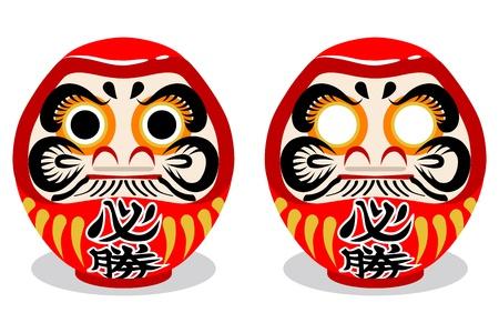 Two Japanese Daruma dolls