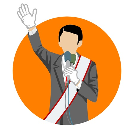 politician: Japanese politician in election campaign