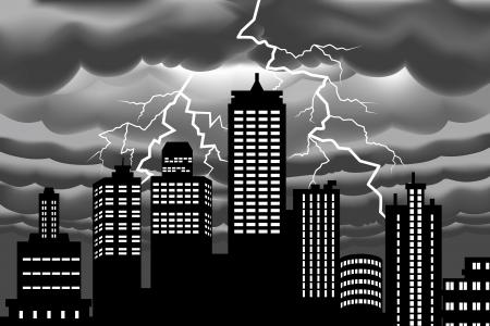 thunder: Lightning bolt at Building city