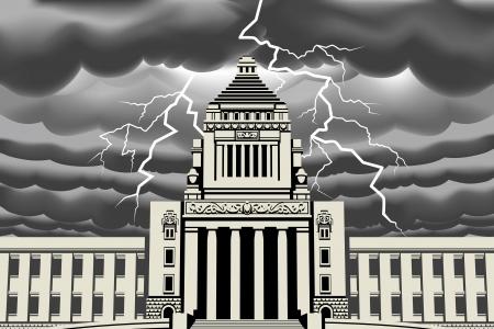 thunderstorms: Lightning bolt at Japan National Diet Building Illustration