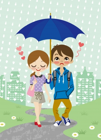 Young Couple walking in the rainy town Vector