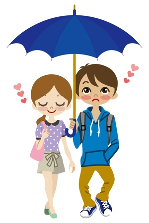 Cute Couple share one umbrella Illustration