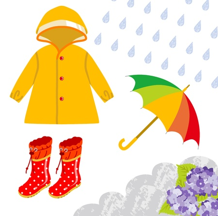 Attrezzi da pioggia per i bambini Vettoriali