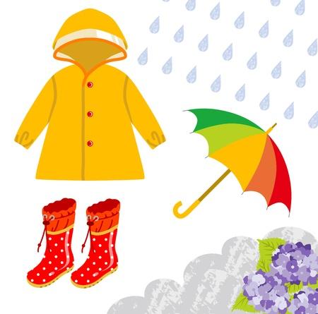 Vêtements de pluie pour enfants Vecteurs