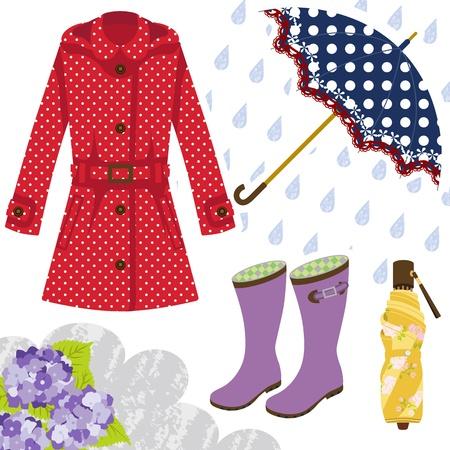 Rain gear for women Stock Vector - 18628719