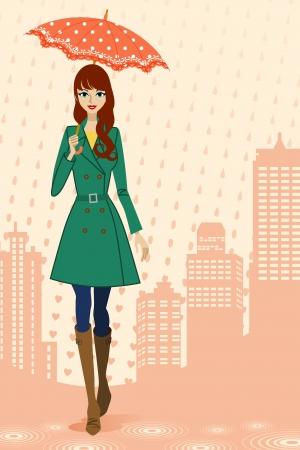 雨の多い街、正面を歩く婦人  イラスト・ベクター素材