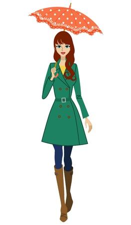 正面図、傘を持った女性