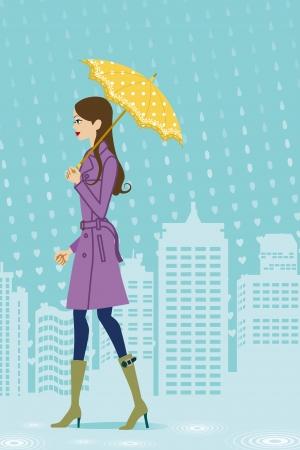 Woman walking in rainy city, side view
