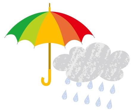 fall protection: umbrella and rain cloud Illustration