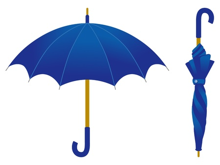 Blue umbrella, open and closed