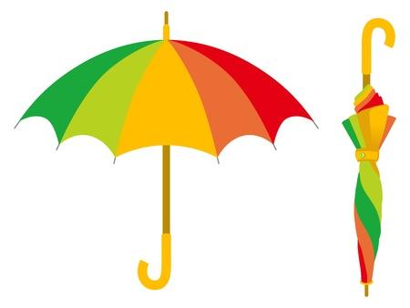 Paraguas colorido, abierto y cerrado