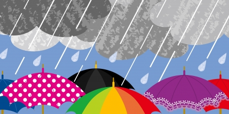 storm rain: Various Umbrellas in Rainy weather