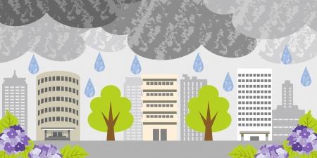 雨の日に都市の構築  イラスト・ベクター素材