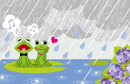 personification: Frog couple in rainy Pond