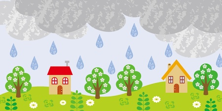 Small Village on rainy day
