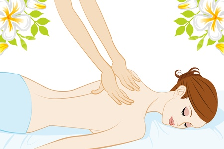 woman lying in bed: Young Women who receive back massage