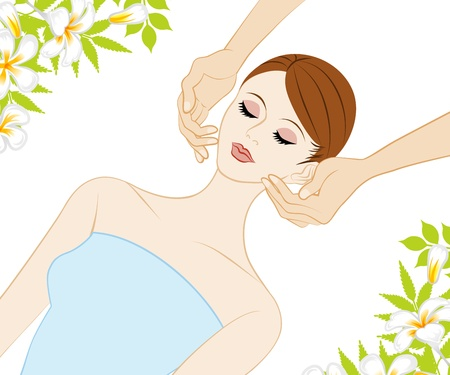 Young Women who receive face massage Stock Vector - 19084048