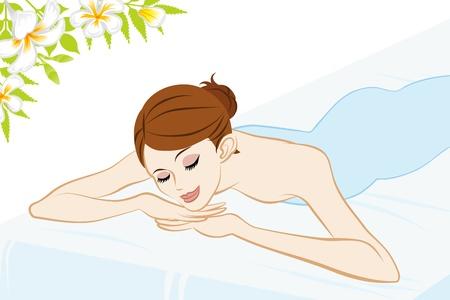 mujer acostada en cama: Mujer joven que se acuesta en la cama, Encuadre cintura para arriba, Ojos cerrados Vectores