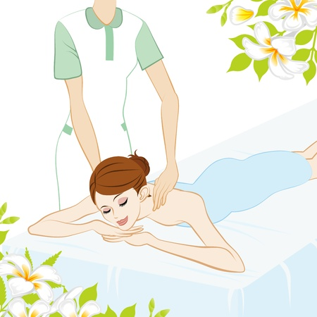 woman lying in bed: Young Women who receive Shoulder massage