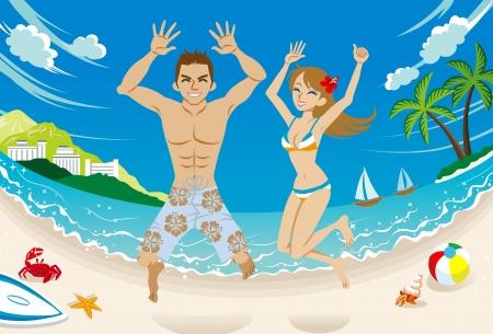 熱帯のビーチで跳んで幸せなカップル