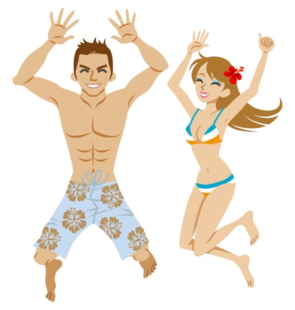 Happy couple  jumping, who wear swimsuit Stock Vector - 19663923