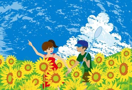 sunflower field: Children play in sunflower field