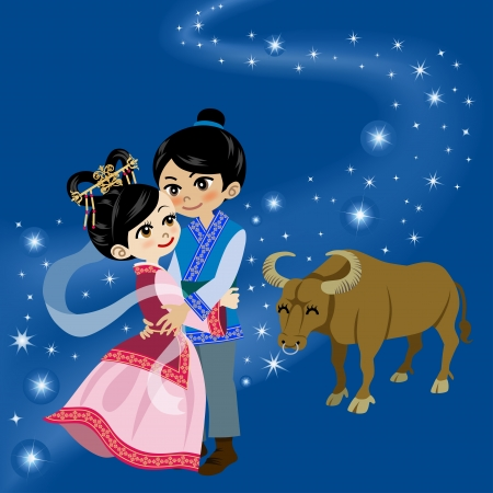 Tanabata Legend ,Milky Way and Couple Vector