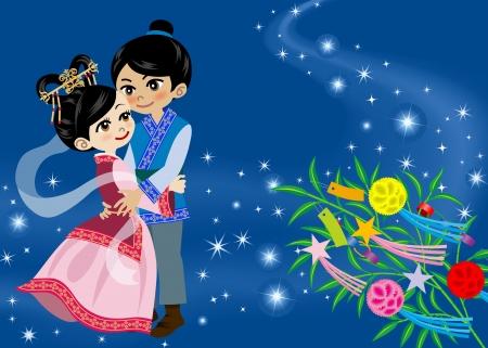 Tanabata Legend ,Image of Japanese folklore