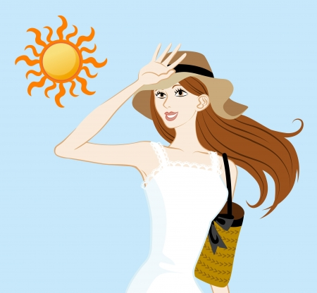 sun protection: UV care image,woman and sun