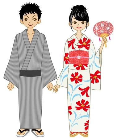 yukata: Japanese yukata couple