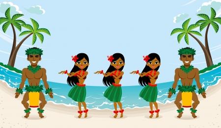 bailarin hombre: Hula Dancer en la hermosa playa