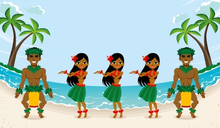 dancer male: Hula Dancer in beautiful beach Illustration