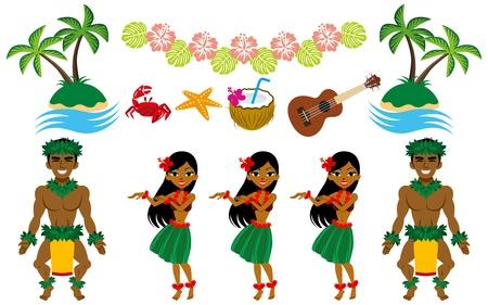 hawaiana: Hula Dancer y el conjunto de im�genes de Hawai Vectores