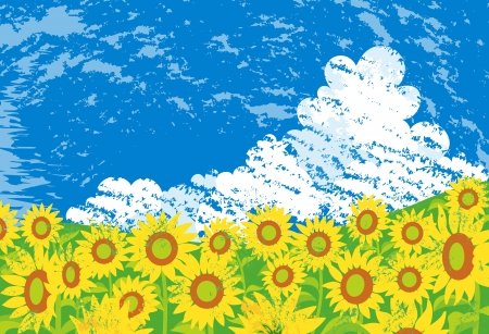 ひまわり畑  イラスト・ベクター素材