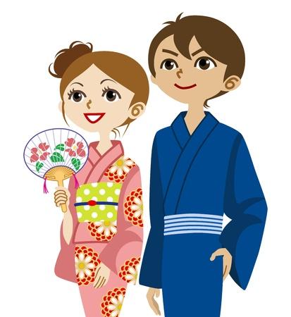 yukata: Yukata couple, Looking up