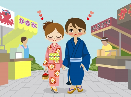 old couple walking: Yukata couple in Japanese  summer festival
