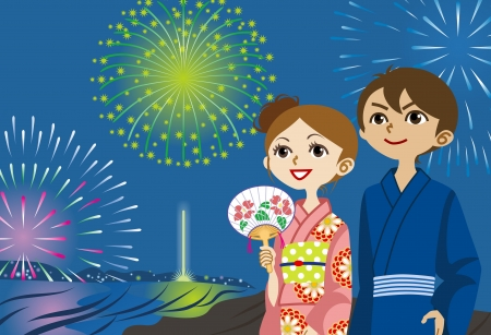 Yukata couple Looking up fireworks  向量圖像