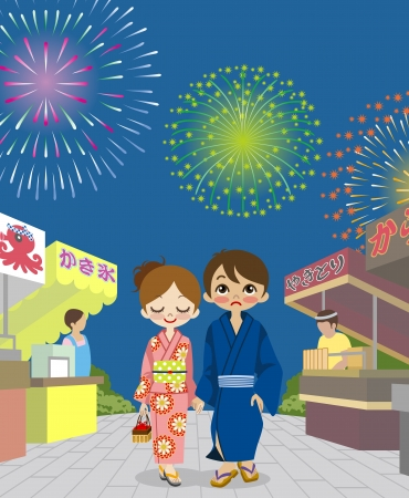Couple enjoying Japanese Fireworks Show