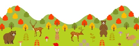 panoramic view: Autumn animals in forest, panoramic view