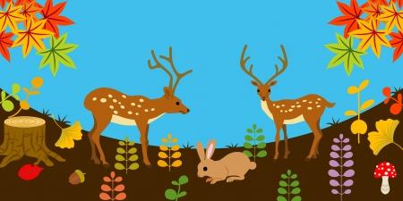Deer and rabbit in Autumn nature  Stock Vector - 20244281