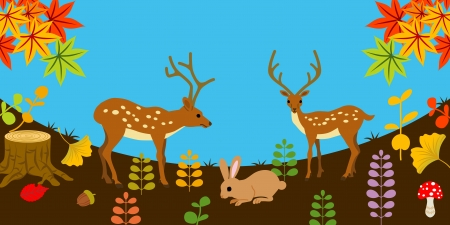 fallen leaves: Deer and rabbit in Autumn nature