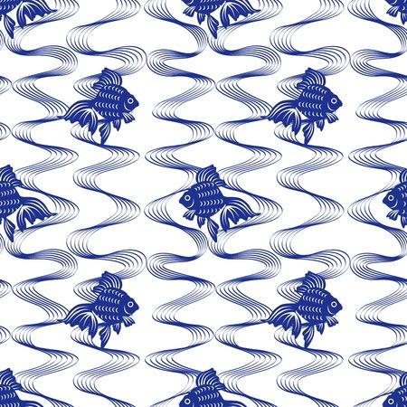 dichromatic: Japanese Goldfish seamless pattern