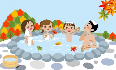 Cheerful family Enjoying Japanese Hot Spring in Autumn  Vector