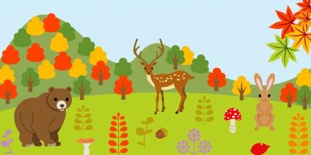 Animals in autumn forest  Vector