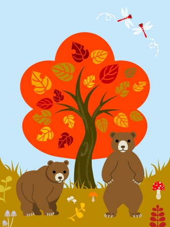 Autumn tree and Two bears  Vector