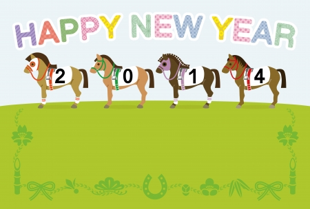 Racehorse,2014,Japanese New Year s card Design Vector