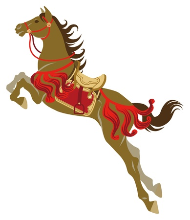 horse harness: The Jumping horse which wearing Japanese retro costume  Illustration