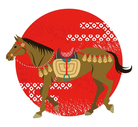 period costume: The walking horse and sun, Japanese retro costume Illustration