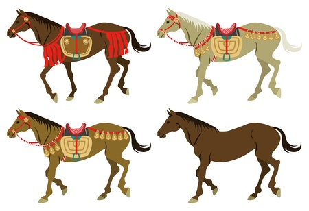 Four types walking horses Stock Vector - 21470524