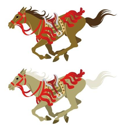 馬を実行している 2 つの色を日本のレトロな衣装を着てください。